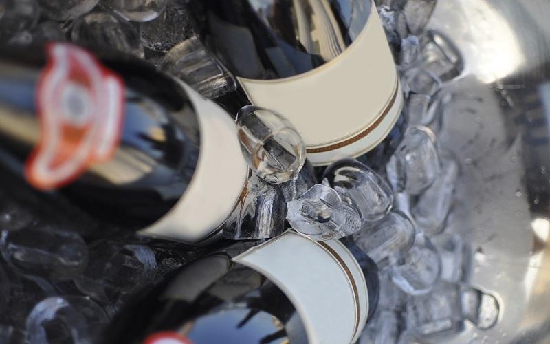 wine bottles in bucket